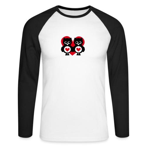 verliebte Eulen - Männer Baseballshirt langarm