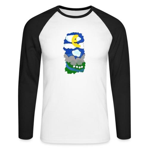 smiling moon and funny sheep - Men's Long Sleeve Baseball T-Shirt