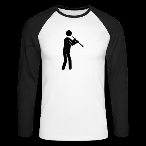 Oboist Piktogramm schwarz - Männer Baseballshirt langarm
