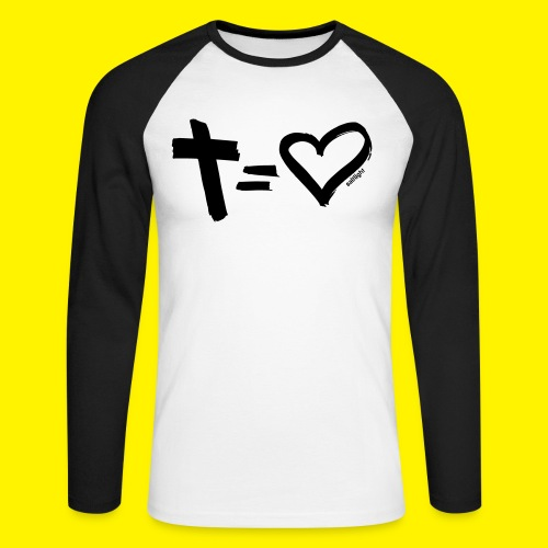 Cross = Heart BLACK - Men's Long Sleeve Baseball T-Shirt