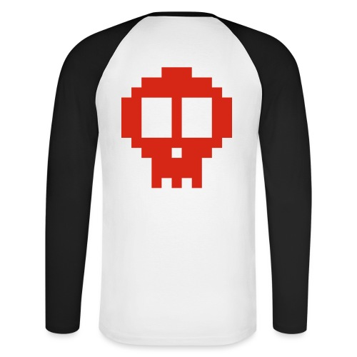 Pixel skull - red - Men's Long Sleeve Baseball T-Shirt