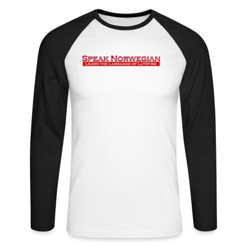 Speak Norwegian - Langermet baseball-skjorte for menn