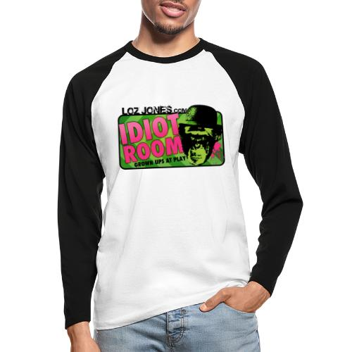 'Idiot Room' Chimp design - Men's Long Sleeve Baseball T-Shirt
