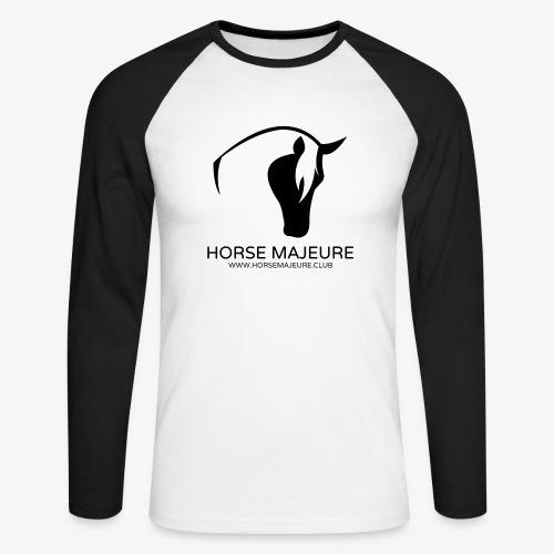Horse Majeure Logo / Musta - Miesten pitkähihainen baseballpaita