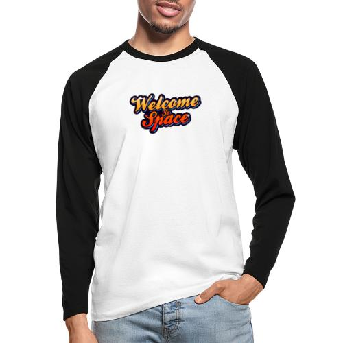 Colorful Welcome To Space Logo - Langermet baseball-skjorte for menn