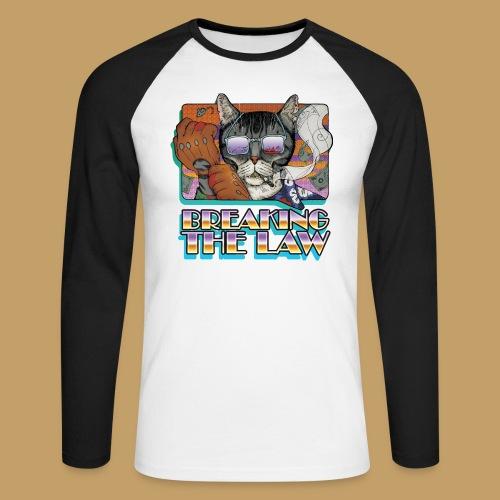 Crime Cat in Shades - Braking the Law - Koszulka męska bejsbolowa z długim rękawem