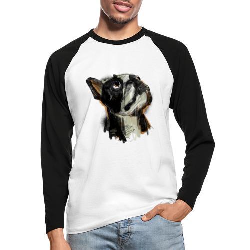 Französische Bulldogge Zeichnung - Männer Baseballshirt langarm