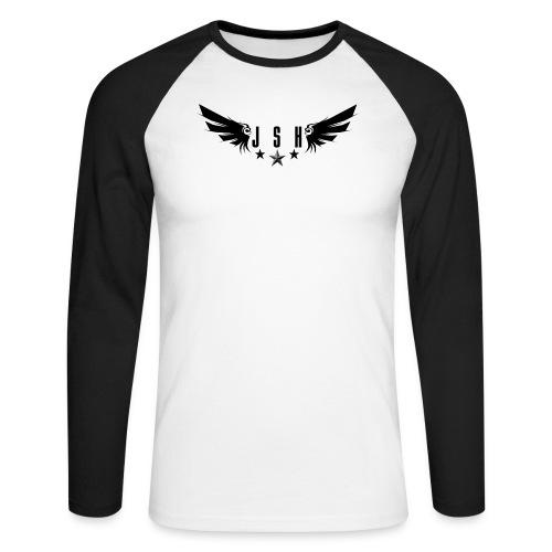 letterswingsstarsblack png - Men's Long Sleeve Baseball T-Shirt