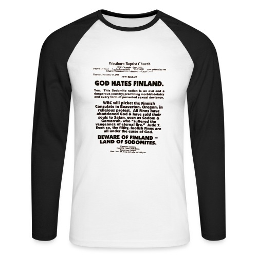 God Hates Finland - Men's Long Sleeve Baseball T-Shirt