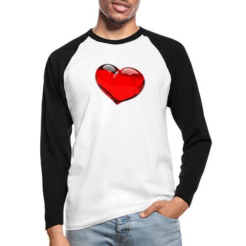 serce 3D - Koszulka męska bejsbolowa z długim rękawem