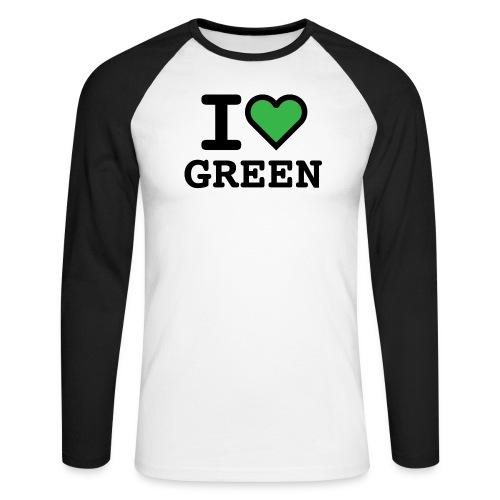 i-love-green-2.png - Maglia da baseball a manica lunga da uomo