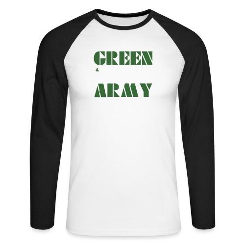 GREEN & WHITE ARMY _STENCIL_3 - Men's Long Sleeve Baseball T-Shirt