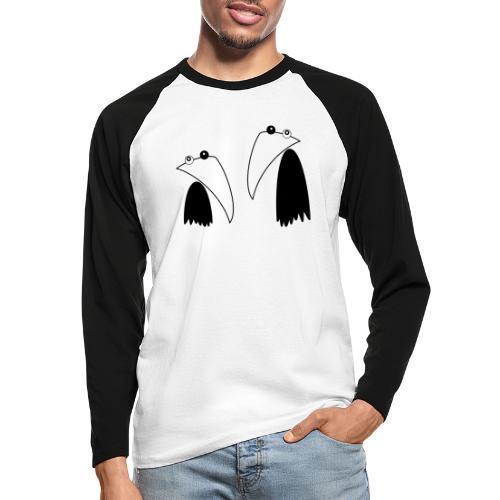 Raving Ravens - black and white 1 - Men's Long Sleeve Baseball T-Shirt