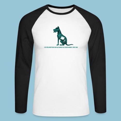 T-shirt pour homme imprimé Chien au Rayon-X - T-shirt baseball manches longues Homme