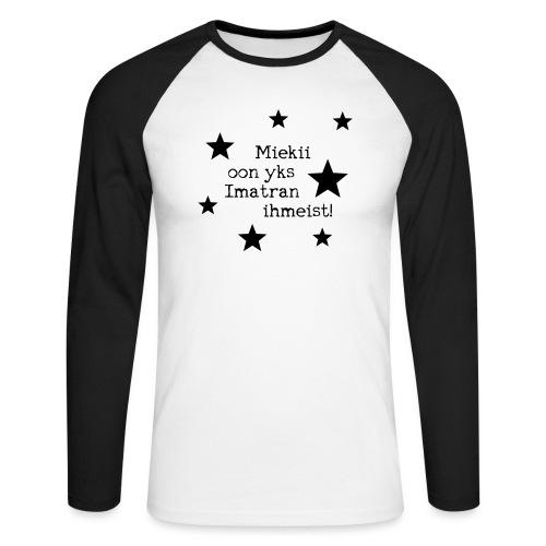 Miekii oon yks Imatran Ihmeist lasten t-paita - Miesten pitkähihainen baseballpaita