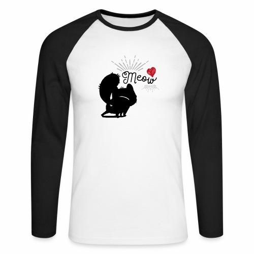 gatto meow - Maglia da baseball a manica lunga da uomo