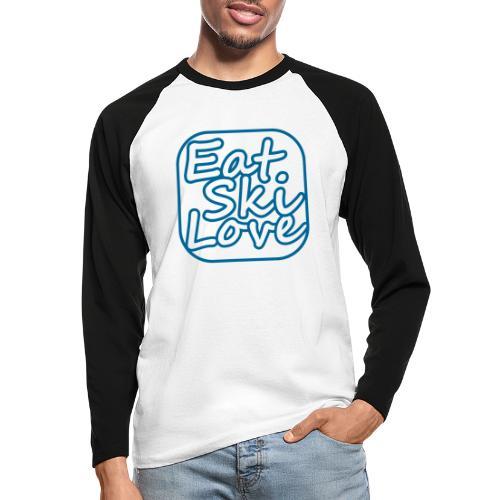 eat ski love - Mannen baseballshirt lange mouw