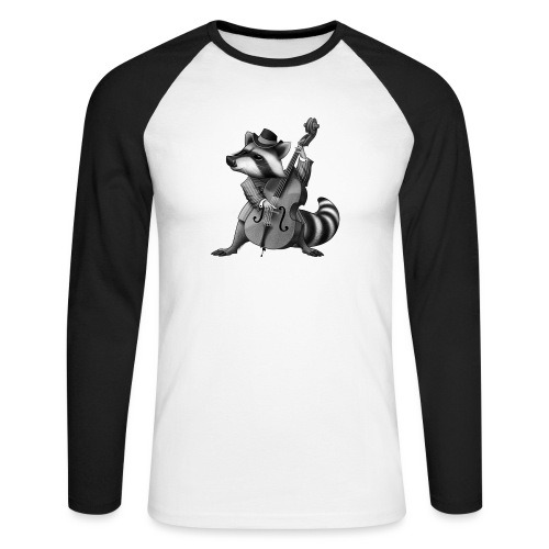 Racoon Musician - Männer Baseballshirt langarm