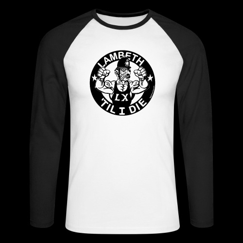 LAMBETH - BLACK - Men's Long Sleeve Baseball T-Shirt