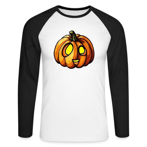 Pumpkin Halloween watercolor scribblesirii - Männer Baseballshirt langarm