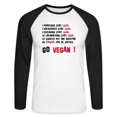 GO VEGAN - T-shirt baseball manches longues Homme