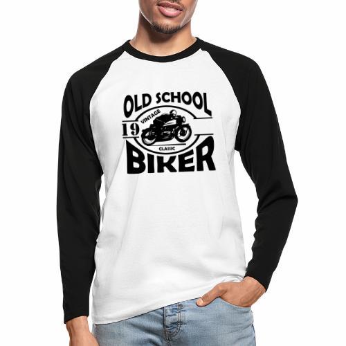 Old School Biker (customise the year) - Men's Long Sleeve Baseball T-Shirt