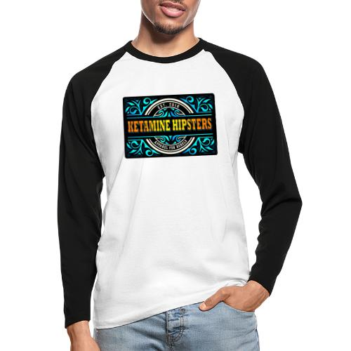 Black Vintage - KETAMINE HIPSTERS Apparel - Men's Long Sleeve Baseball T-Shirt