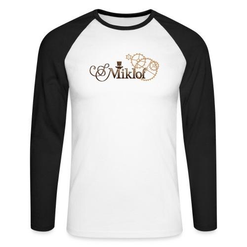 miklof logo gold wood gradient 3000px - Men's Long Sleeve Baseball T-Shirt