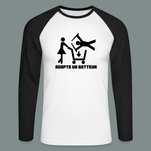 Adopte un batteur - idee cadeau batterie - T-shirt baseball manches longues Homme