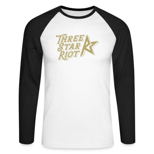 Three Star Riot logo väri - Miesten pitkähihainen baseballpaita