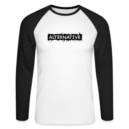 Spike T-shirt White - Koszulka męska bejsbolowa z długim rękawem