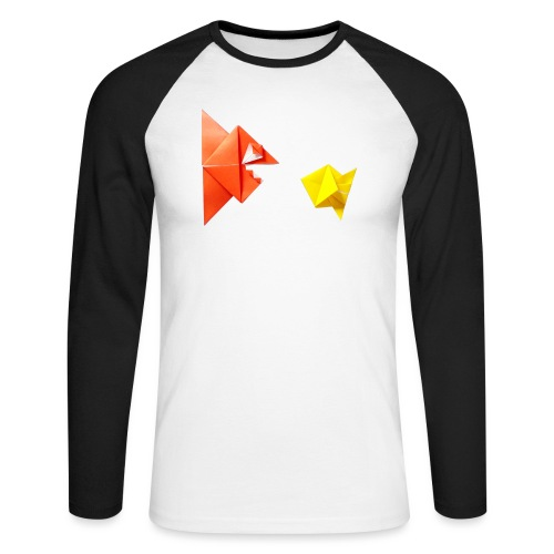 Origami Piranha and Fish - Fish - Pesce - Peixe - Men's Long Sleeve Baseball T-Shirt