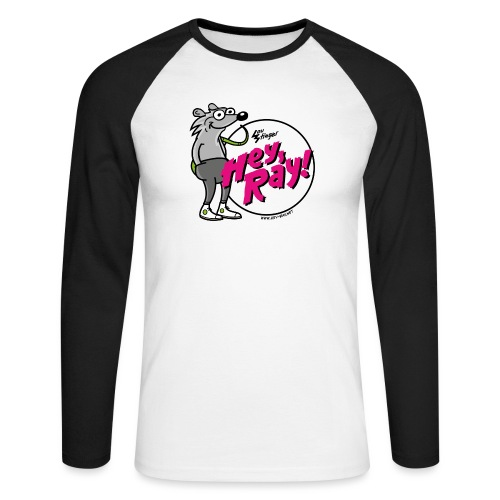 Hey Ray! Logo magenta - Männer Baseballshirt langarm