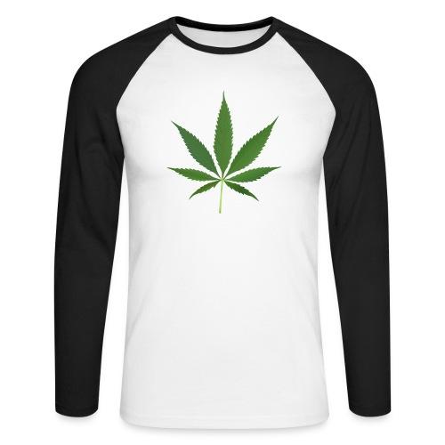 2000px-Cannabis_leaf_2 - Langærmet herre-baseballshirt