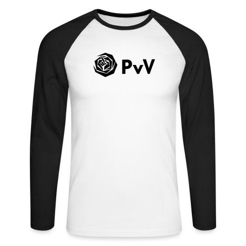 PvdA PvV zwart - Mannen baseballshirt lange mouw