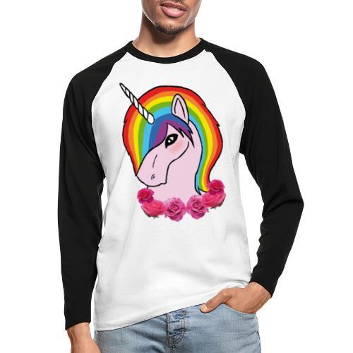 rainbow unicorn png - Maglia da baseball a manica lunga da uomo