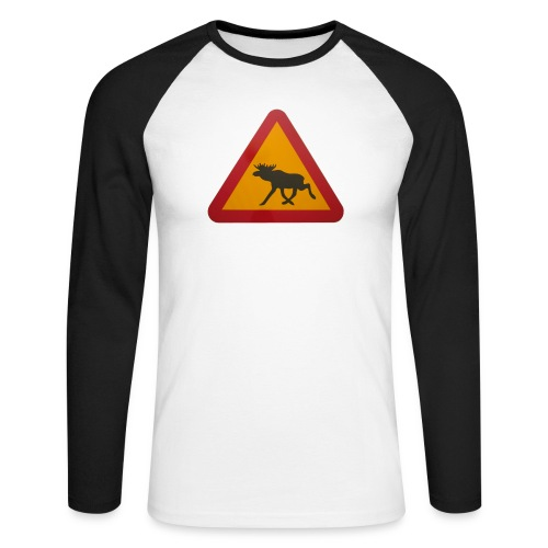 Warnschild Elch - Männer Baseballshirt langarm