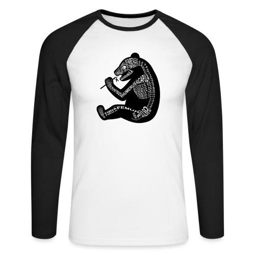 Panda skelet - Mannen baseballshirt lange mouw