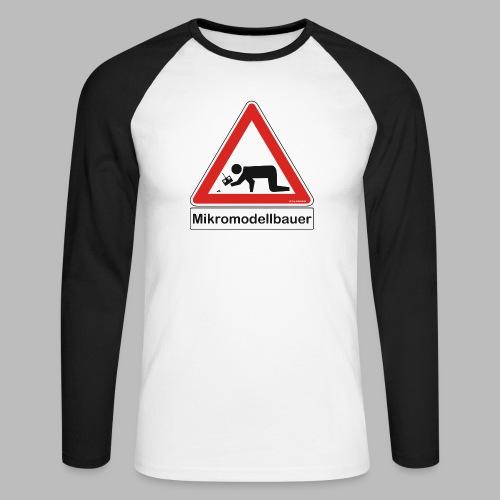 Warnschild Mikromodellbauer Auto - Männer Baseballshirt langarm