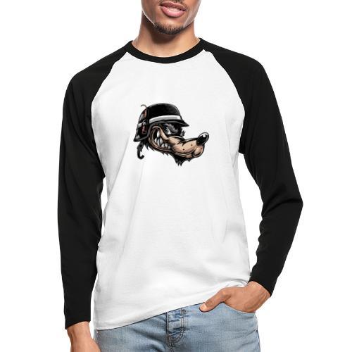 Wolf mit Helm - Männer Baseballshirt langarm