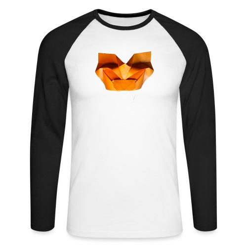Origami Saber Toothed Tiger Mask - Origami Tiger - Men's Long Sleeve Baseball T-Shirt