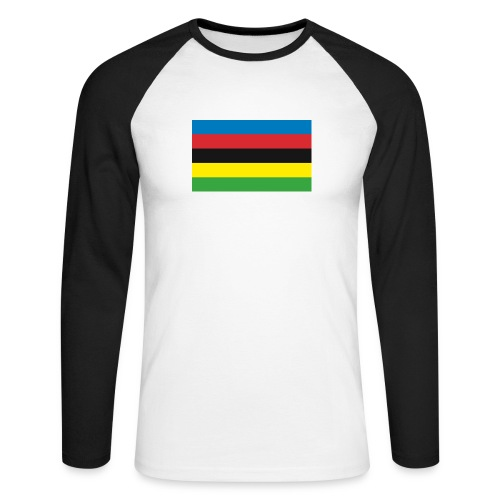 Cycling_World_Champion_Rainbow_Stripes-png - Mannen baseballshirt lange mouw