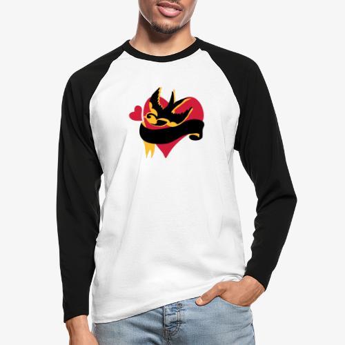 retro tattoo bird with heart - Men's Long Sleeve Baseball T-Shirt