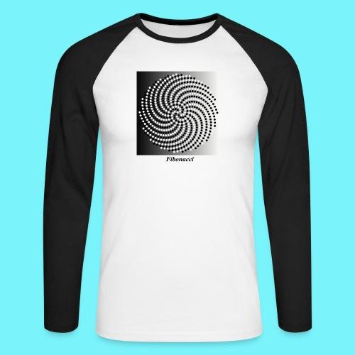 Fibonacci spiral pattern in black and white - Men's Long Sleeve Baseball T-Shirt