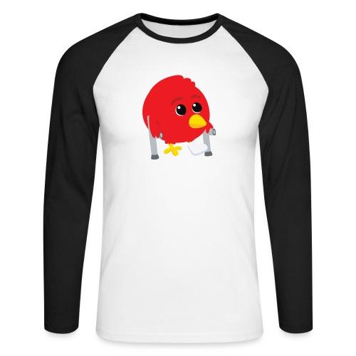 Oiseau rouge blessé - T-shirt baseball manches longues Homme