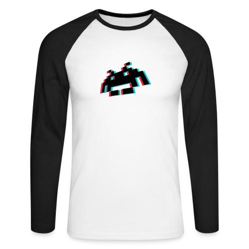 invader3dschwarz1 - Männer Baseballshirt langarm