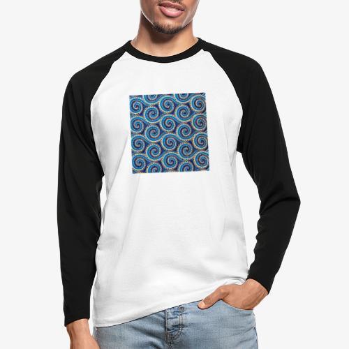 Spirales au motif bleu - T-shirt baseball manches longues Homme