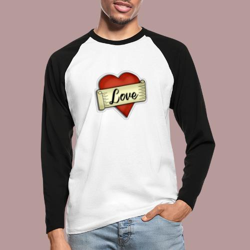 Love cœur tatouage - T-shirt baseball manches longues Homme