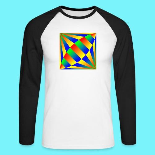 Giant cufflink design in blue, green, red, yellow. - Men's Long Sleeve Baseball T-Shirt