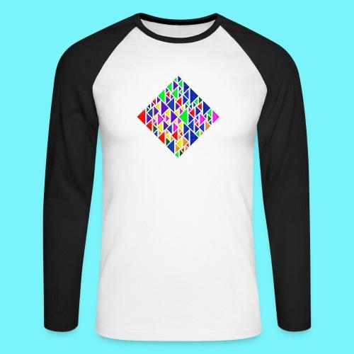 A square school of triangular coloured fish - Men's Long Sleeve Baseball T-Shirt